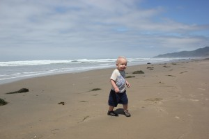 Ezra's first time on the beach - Oregon coast