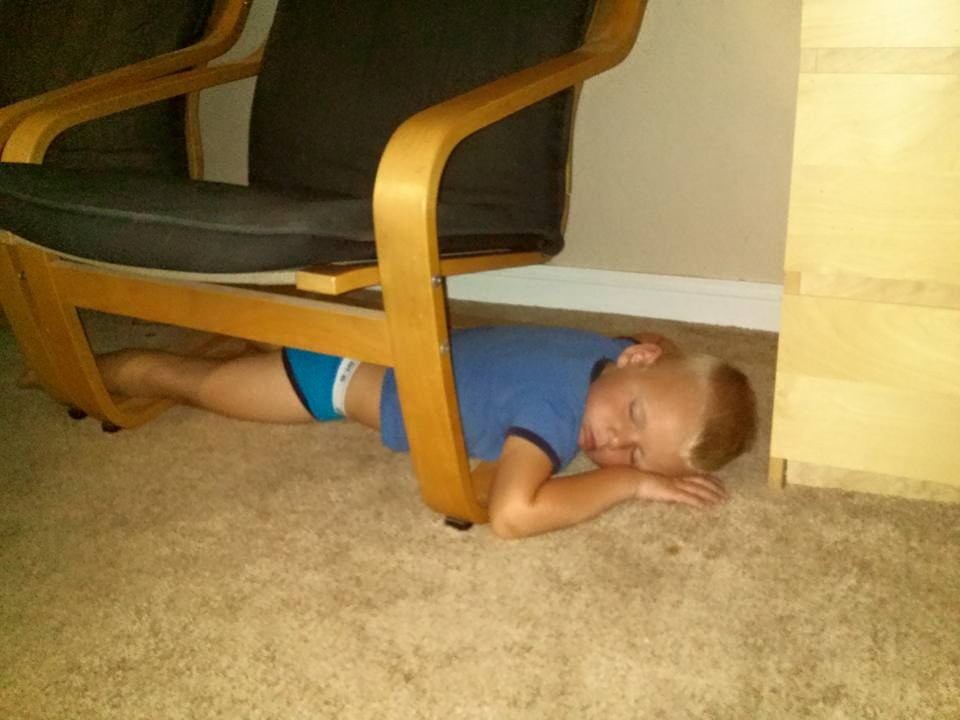We weren't sure why he fell asleep there...maybe he was playing hide and seek and we were supposed to find him?