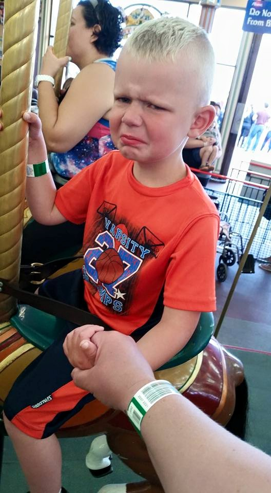Wasn't too sure about riding the carousel.